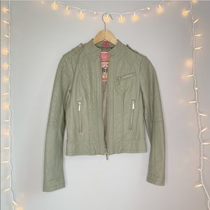 Collection B Olive Faux Leather Jacket